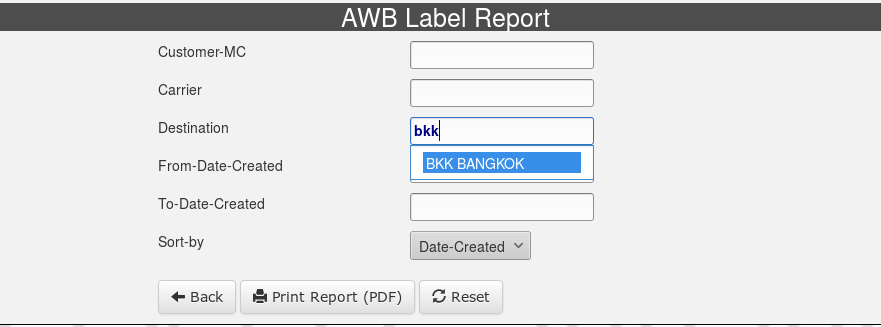 AWB-Label-Report-Selection