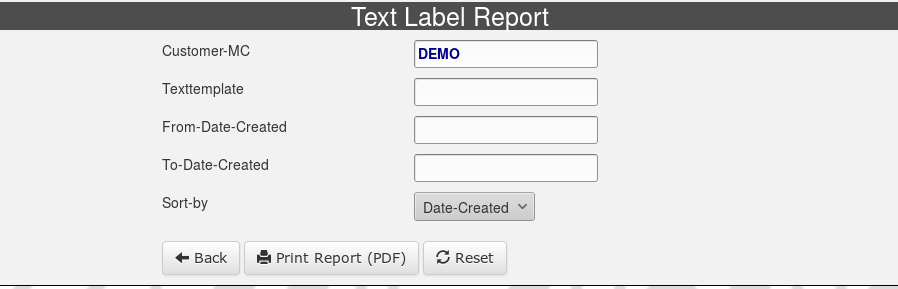 Text-Label-Report-Selection